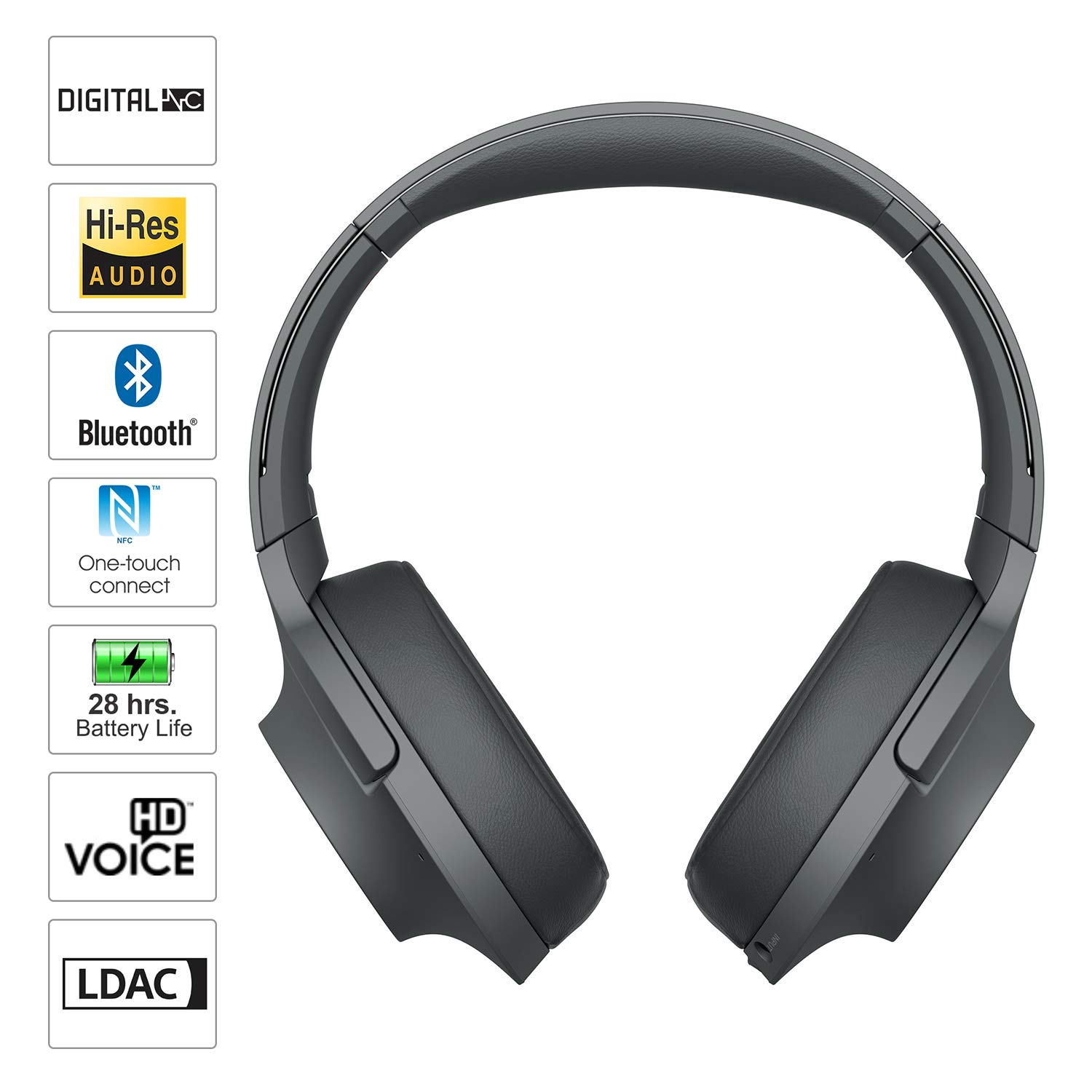 Sony Sony whh900n hear on 2 wireless overear noise cancelling high resolution headphones, 2.4 Ounce by Sony (Image #2)
