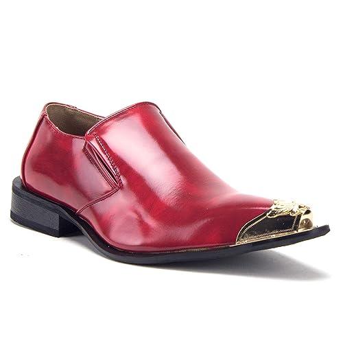 2cb16b6b8ebb6 J'aime Aldo Men's 15811 Chrome Metal Toe Pointy Tip Patent Slip On Loafers  Formal Dress Shoes