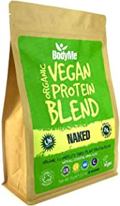 BodyMe Organic Vegan Protein Powder Blend | Naked Natural | 1kg | UNSWEETENED | Low Carb | With 3 Plant Based Vegan Protein Powders | 24g Complete Protein | Gluten Free | All Essential Amino Acids