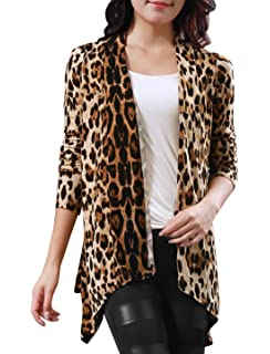 Allegra K Women Long Sleeves Open Front Leopard Prints Cardigan