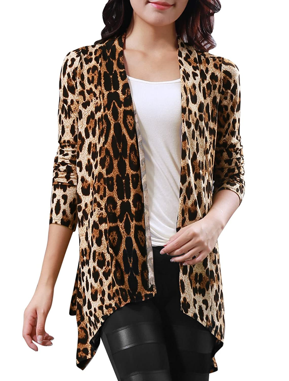 Girltalkfashions Women Chuncky Leopard Print Long Sleeve Cardigan ...