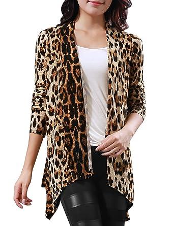Amazon.com: Allegra K Women Long Sleeves Open Front Leopard Prints ...