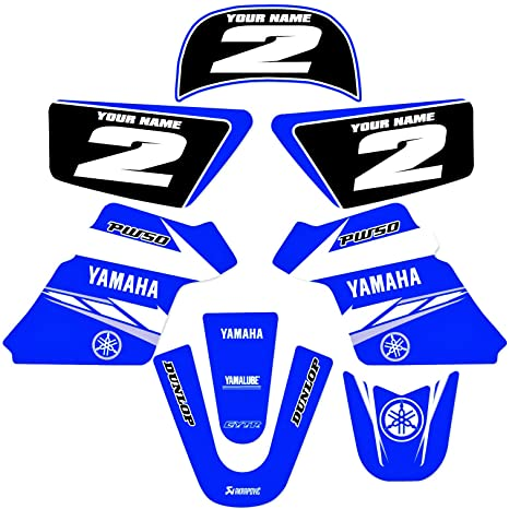 YAMAHA PW 50 PW50 GRAPHICS KIT DECALS DECO Fits Years 1990-2018 Enjoy Mfg  (BLUE)