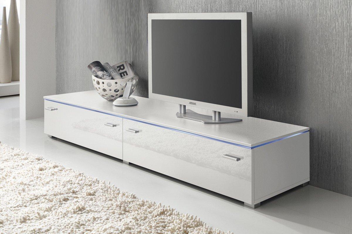 Lowboard led  Lowboard TV Schrank TV-Element 180 cm weiß Fronten Hochglanz ...