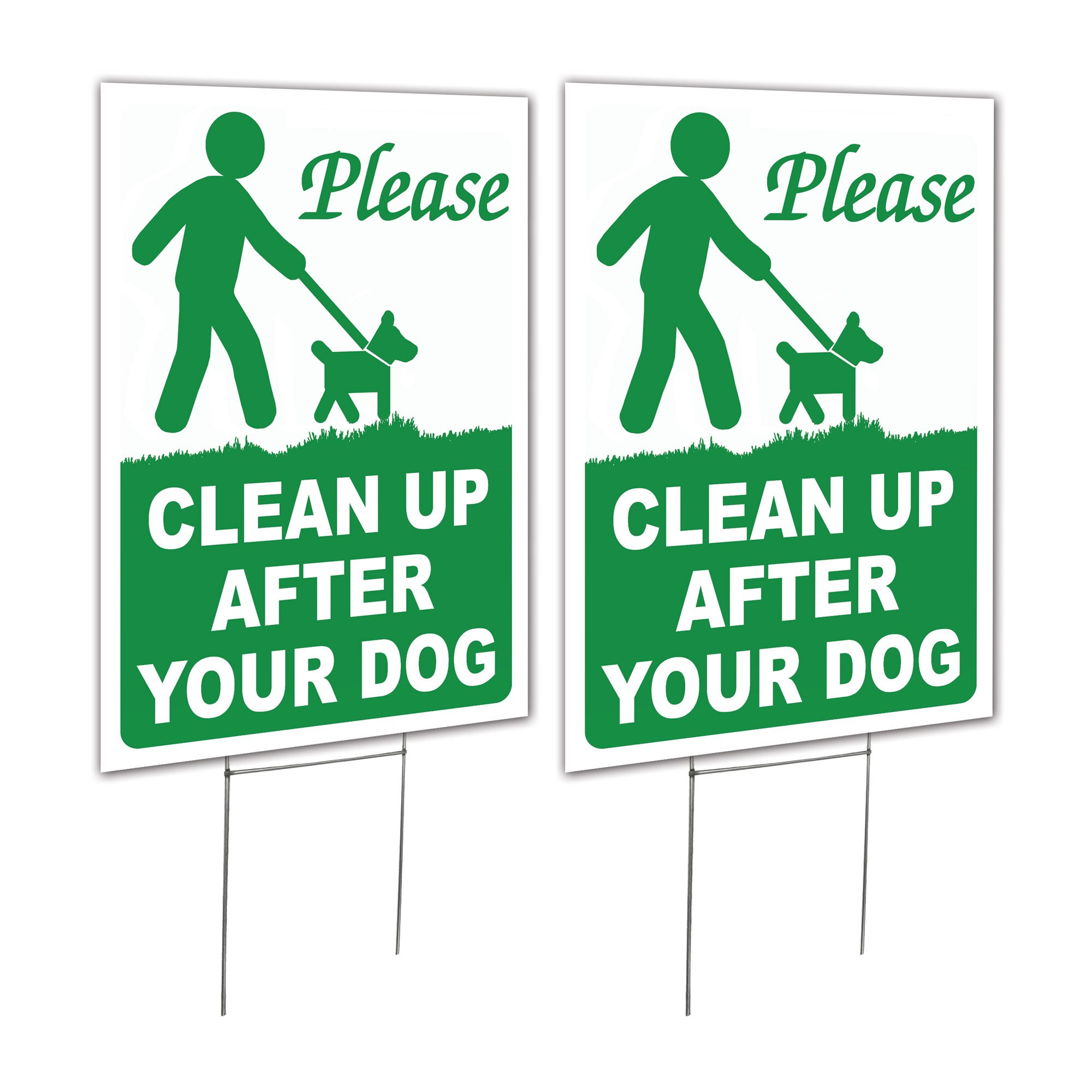 2 Pack 9x12 Clean Up After Your Dog Lawn Signs with H-stakes (2)