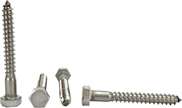 Hex Lag Screws 18-8 Stainless Steel 5//16 x 6 Qty-25