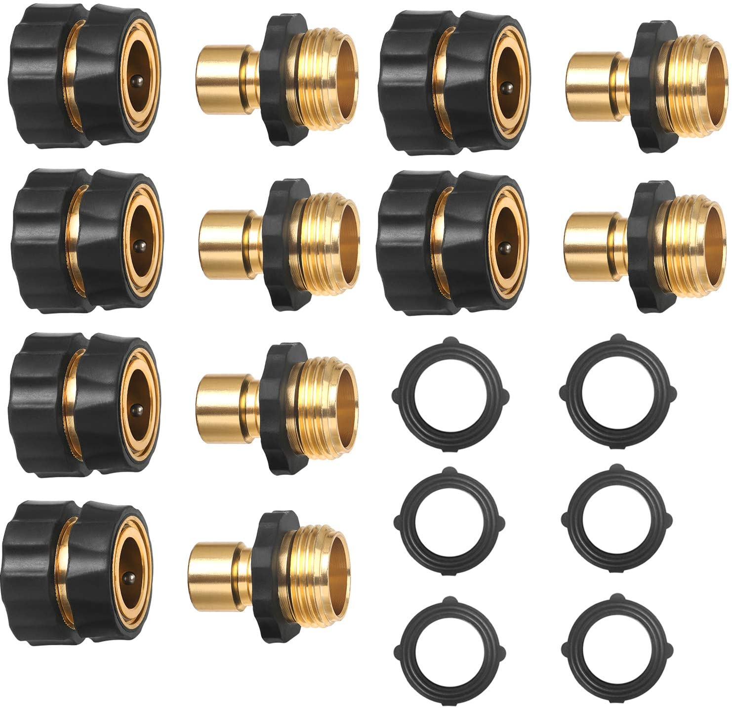 3/4 Inch Garden Aluminum Hose Fitting Quick Connector Male and Female Value Pack - No-Leaks Water Hoses Quick Connect Release, 6 Set, with 6 Sealed O-Rings