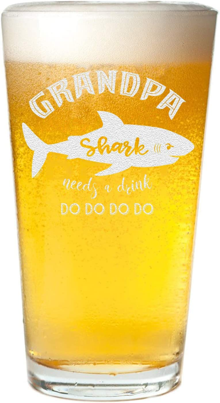 Veracco Grandpa Shark Needs a Drink Beer Pint Funny Shark Father's Day For New Dad Daddy (Clear, Grandpa)