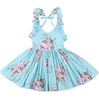 Flofallzique Vintage Floral Girls Dress Toddler Tea Party Sundress Summer Boho Baby Clothes