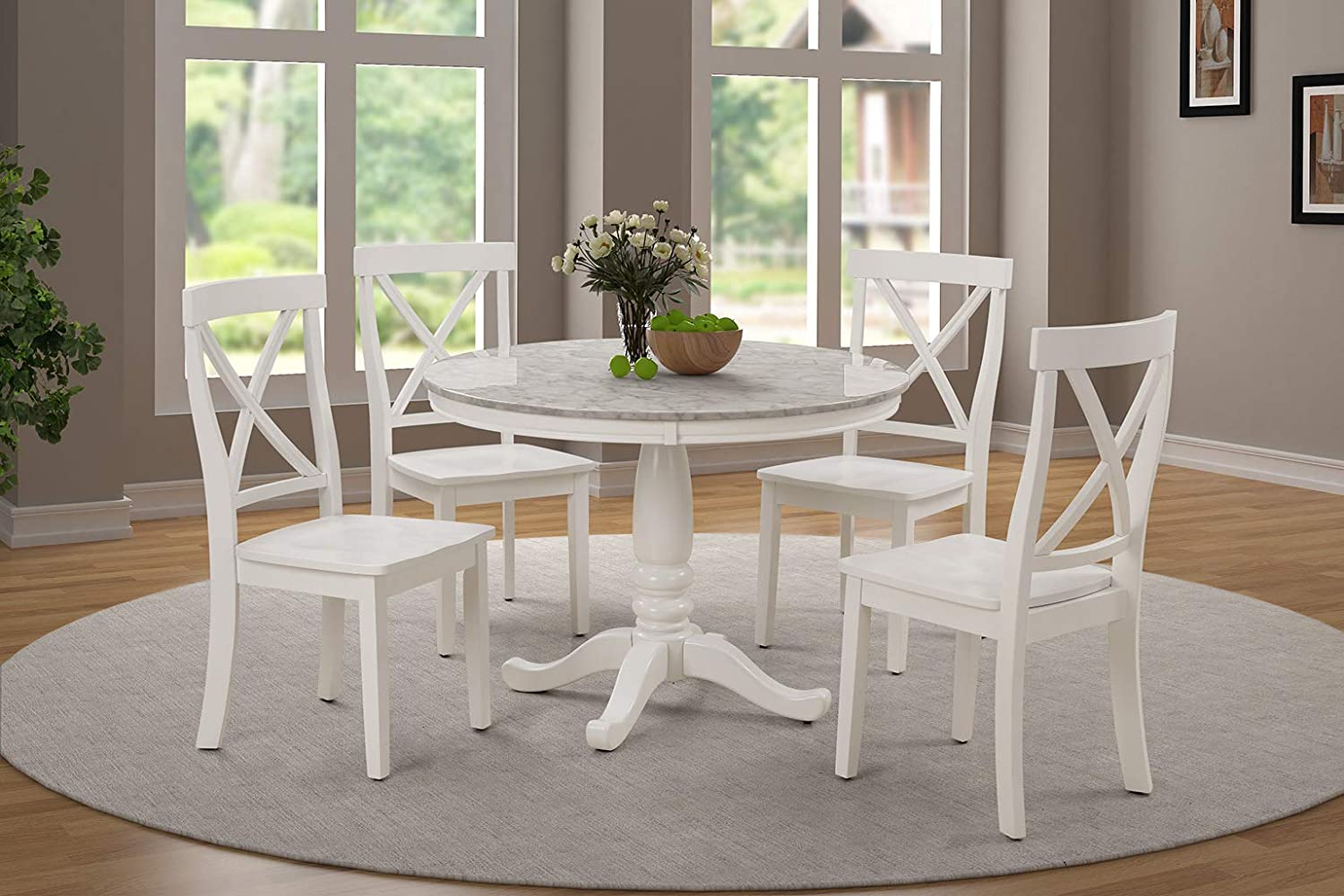 Harper&Bright Designs 5 Piece Dining Set Rubber Wood/ 1 Table with Wood top of Marble Grain and 4 Chair/Kitchen Table Set Dining Room Furniture (White)