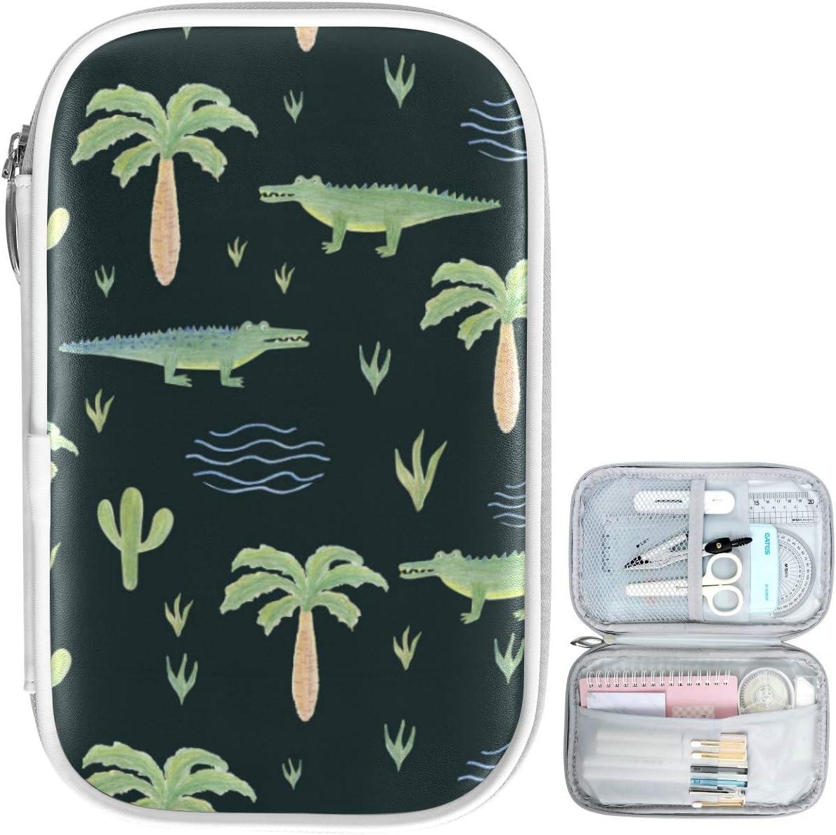 Oarencol Estuche para lápices de cocodrilo tropical, diseño de palmeras con animales y acuarela con cremallera, gran capacidad