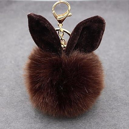 Gaobei color sólido de pelo de orejas de conejo llavero ...