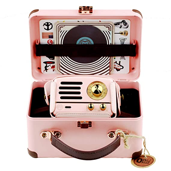 Amazon.com: Muzen Portable Wireless High Definition Audio FM Radio & Bluetooth Speaker, Metal Pink, Travel Case Included - Classic Vintage Retro Design: MP3 ...