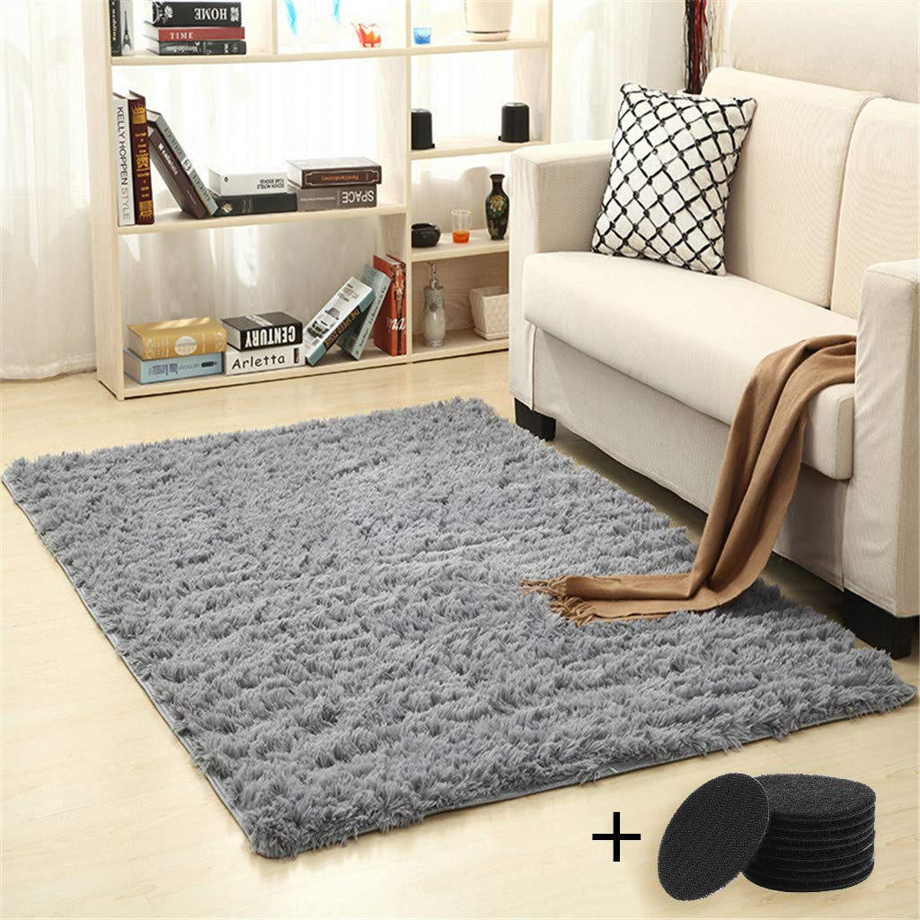 Togethor Carpet for Living Room Super Soft Carpet Indoor Shag Area Rugs Fluffy Dining Room Carpets Bedroom Decor Household Blanket Decor Nursery Rugs with 4PC Floor Mat Anti Slip Sticker