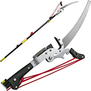 Happybuy Tree Pruner 5.4~17.7ft, Extendable Pole Saw with 3-Sided Blade SK5 Cutting Blade, Tree Pole Pruner, Tree Saw Alloy Steel Branch, Long Reach Pole Pruning Saw for Sawing and Shearing