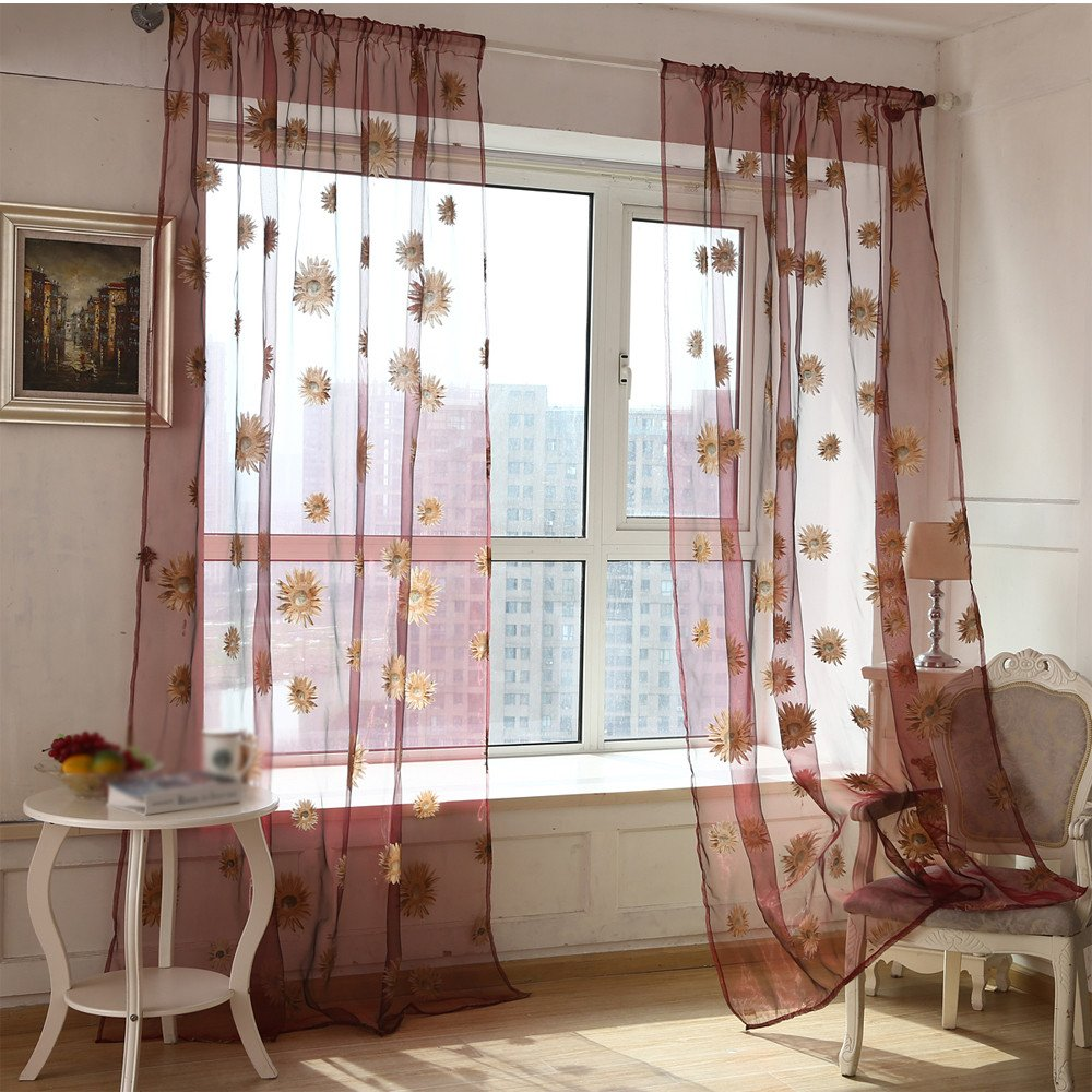 Welcomeuni Fashion Sun Flower Transparent Balcony Curtains Window Screen Home Decoration (Coffee, 100cm x 200cm) Welcomeuni-88888