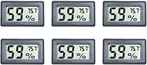 Veanic 6-Pack Mini Digital Electronic Temperature Humidity Meters Gauge Indoor Thermometer Hygrometer LCD Display Fahrenheit (℉) for Humidors, Greenhouse, Garden, Cellar, Fridge, Closet