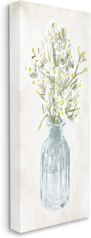 Stupell Industries Quaint White Daisies in Blue Glass Jar, Design by Milli Villa Canvas Wall Art, 13 x 30