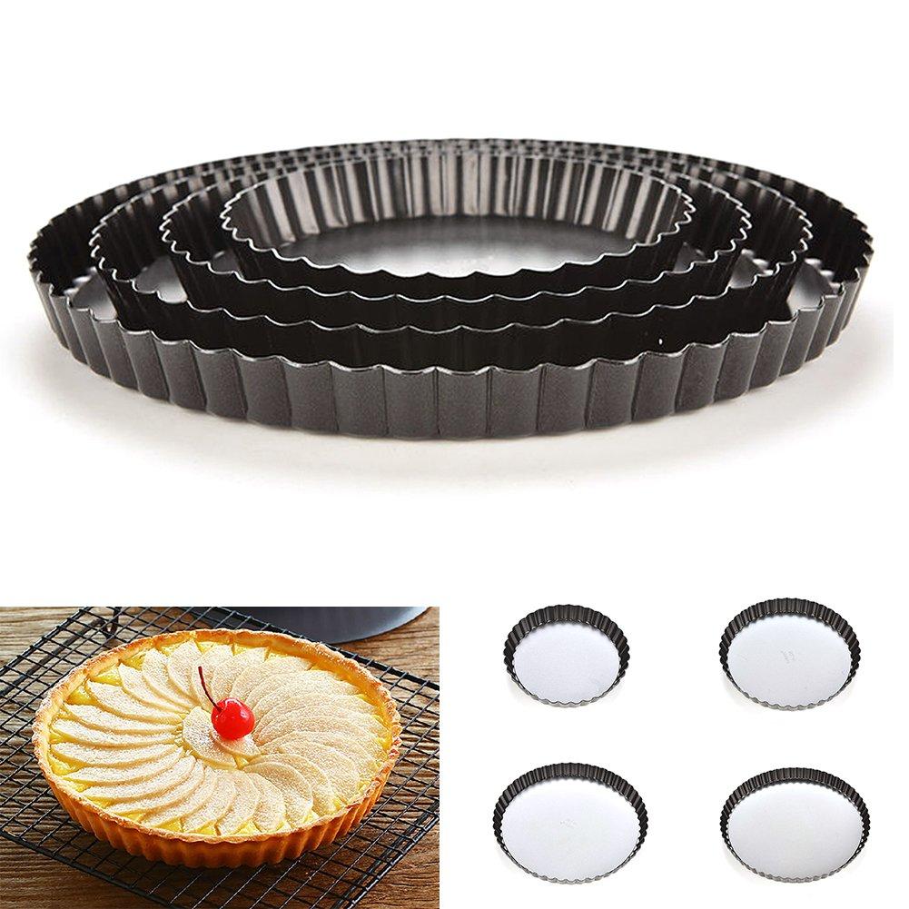 geriffelt rund Quicheform 20,3 x 25,4 x 27,9 cm 20 cm Wie abgebildet Kuchenform mit herausnehmbarem losem Boden