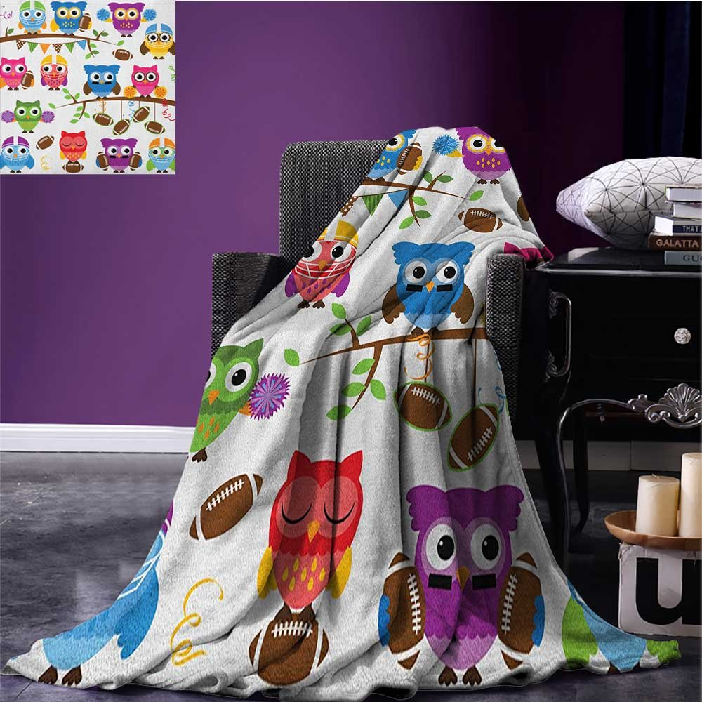 Owls park blanket Sporty Owls Cheerleader League Team Coach Football Themed Animals Cartoon Art Style soft blanket Multicolor size:59''x35.5''