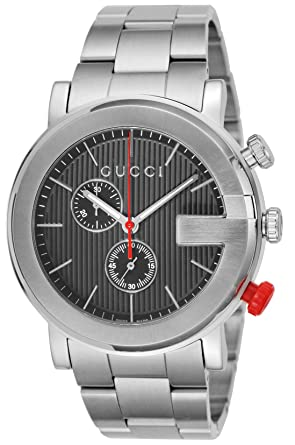 cef8562b Amazon.com: Gucci G Chronograph Black Dial Stainless Steel Men's ...