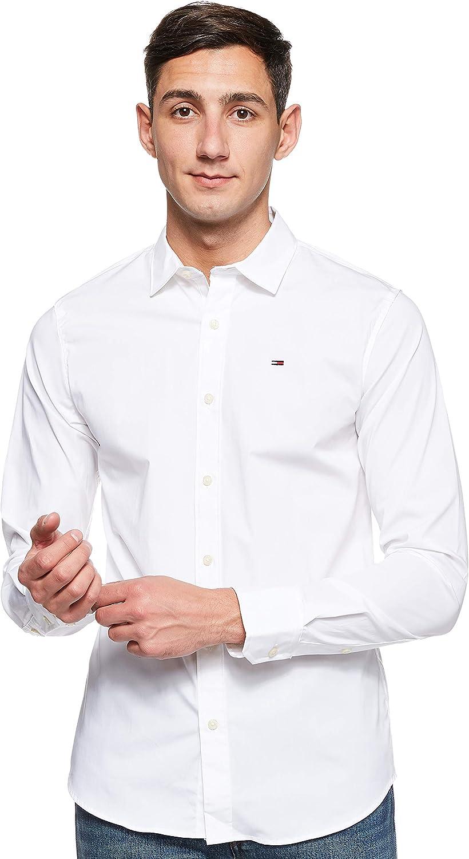 Tommy Jeans Original Stretch Camisa, Blanco (Classic White 100), Medium para Hombre