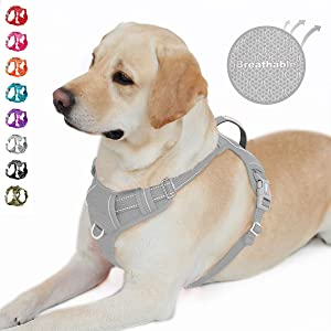 BARKBAY No Pull Dog Harness Front Clip Heavy Duty Reflective Easy Control Handle for Large Dog Walking with ID tag Pocket