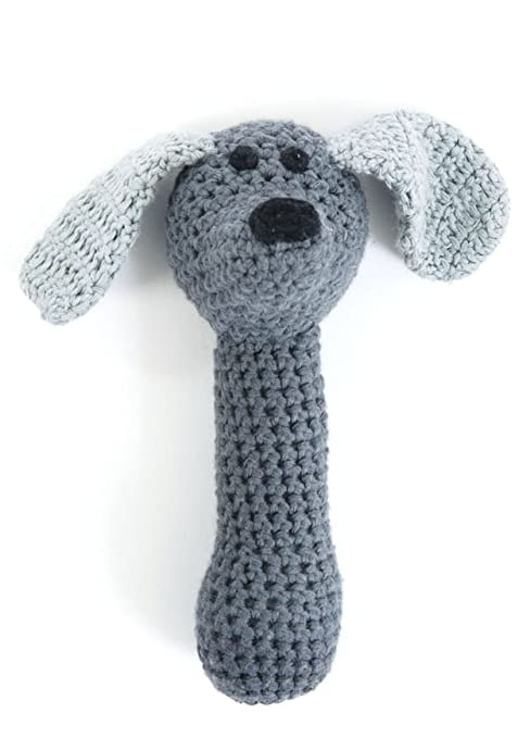 Smalls TUFF ganchillo Animales Sonajero Crochet Dog Perro gris gris ...