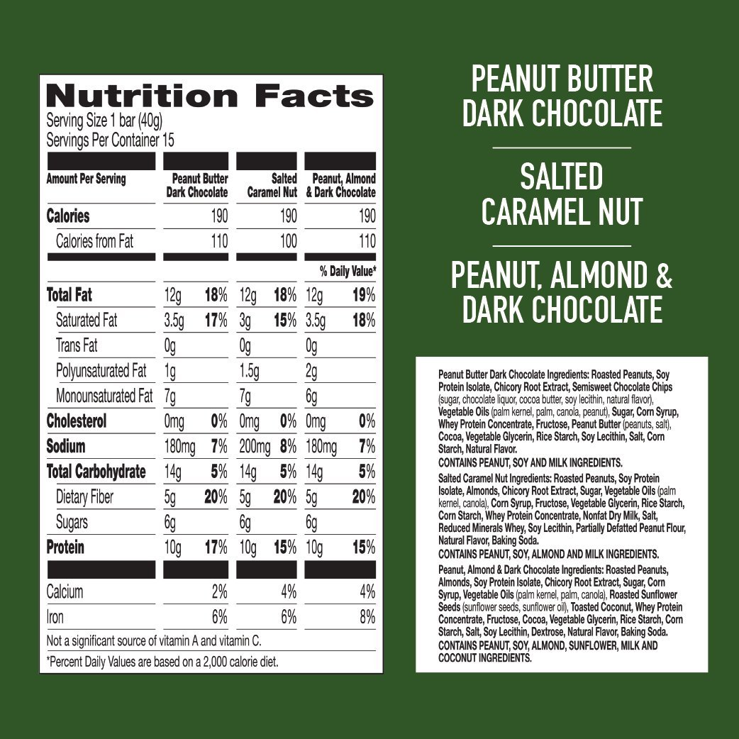 Nature Valley Peanut Butter Dark Chocolate, Salted Caramel Nut, Almond & Protein Chewy Bars, 21.3 oz by Nature Valley (Image #2)