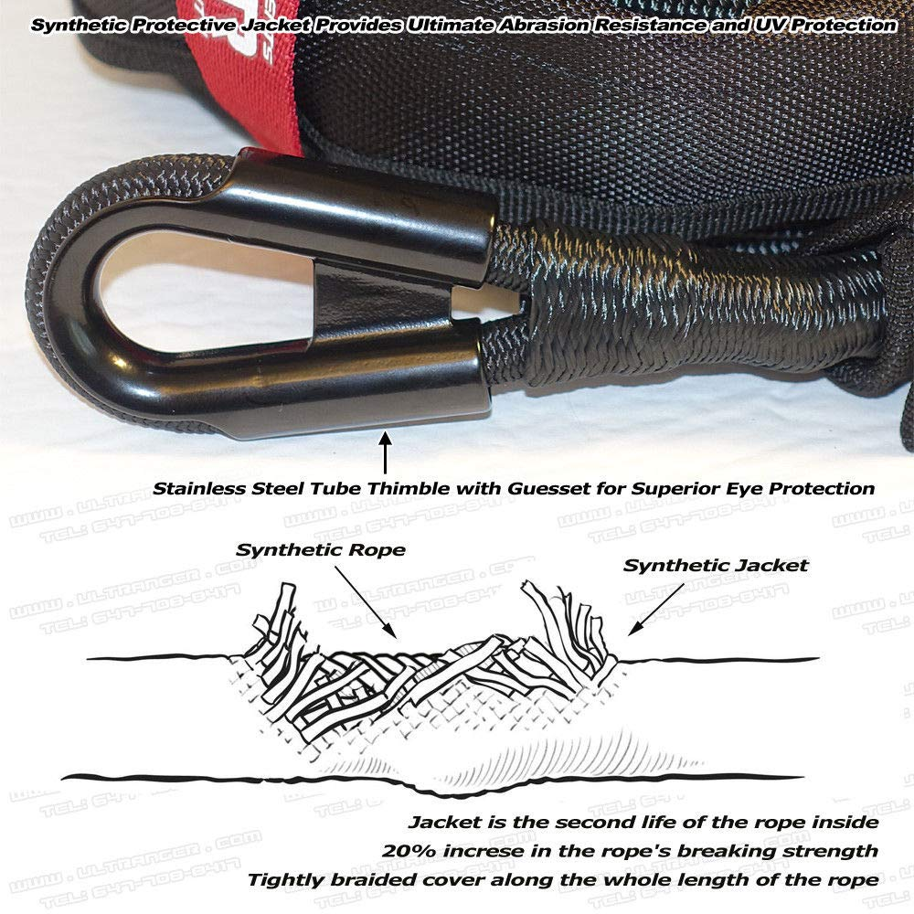Ranger 3//8 x 100 UHMWPE Jacket Synthetic Winch Rope 20,500LBs with Removable Rock Guard