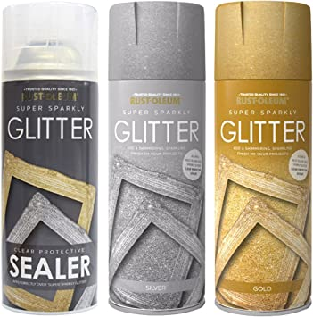 Rust Oleum 400ml Silver And Gold Super Sparkly Glitter Spray