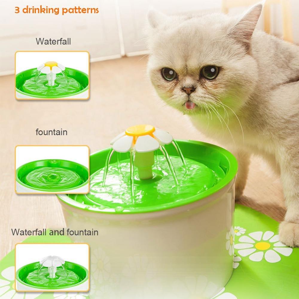 AOLVO Bebedero Automático Silencio, Fuente de Agua para Perros/Gatos, con 1.6L Circulante, 2 Filtros,1 Margaritas y 1 Estera de Silicona (Verde): Amazon.es: ...