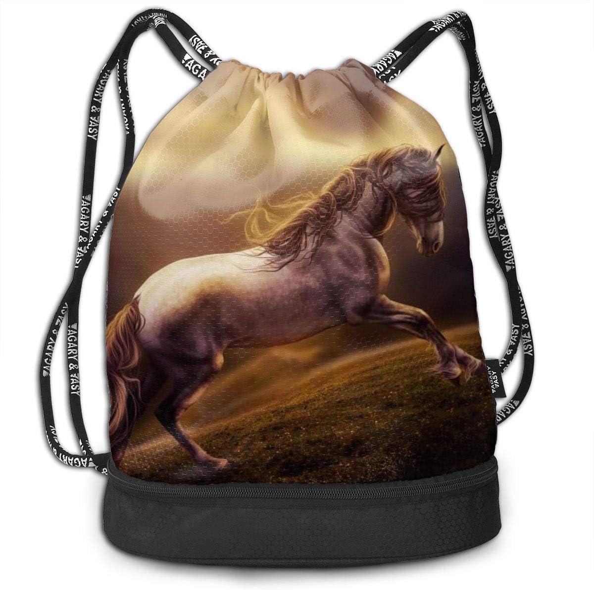 GymSack Drawstring Bag Sackpack Running Horse Sport Cinch Pack Simple Bundle Pocke Backpack For Men Women