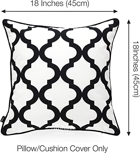 Hofdeco Indoor Outdoor Pillow Cover ONLY, Water Resistant for Patio Lounge Sofa, Yellow Gray Black Floral Moroccan, 18 x18 , Set of 4