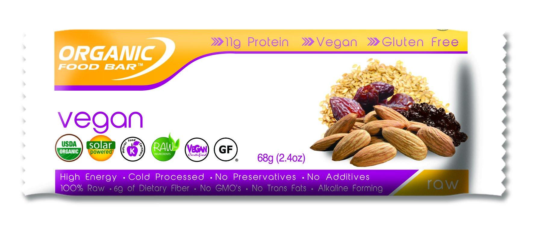 Organic Food Bar - Vegan Bars, Certfied Organic Vegan Protein Bars (Pack of 12, 2.4 oz) by Organic Food Bar