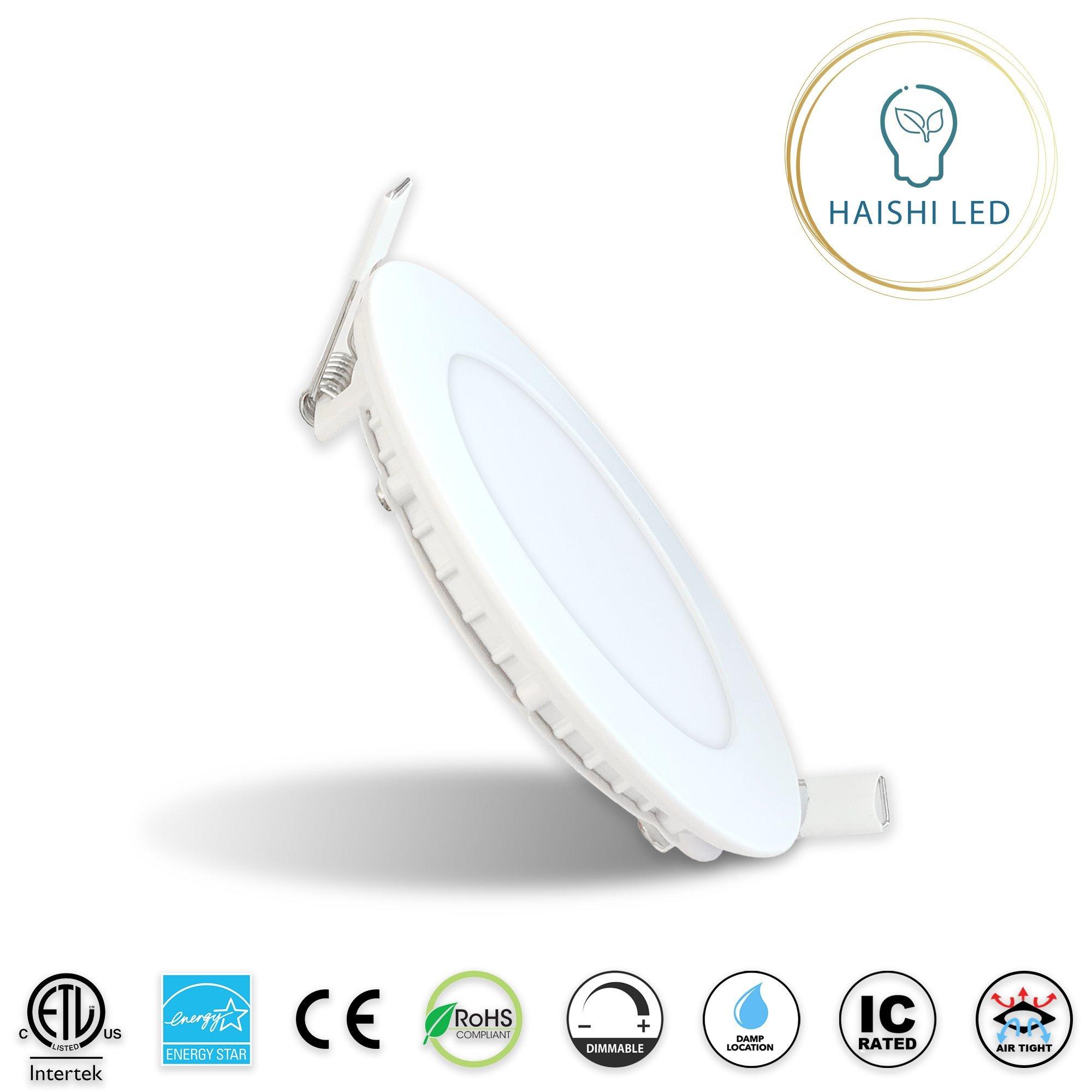 HAISHI 4-Inch 9W 120V Recessed Ultra Thin Ceiling LED Downlight Air Tight Retrofit Slim IC Rated ETL Energy Star 750 Lumens 3000K