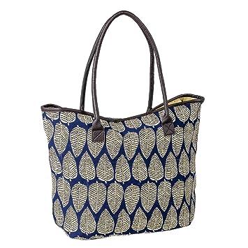 03c2492611448 Strandtasche mit Reißverschluss Damen Große Beach Tasche Strand Shopper Bag  Badetasche Schultertasche Blau Blumen