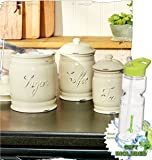 Gift Included- Set of 3 White Countertop Classic Ceramic Canisters Embossed Words Tea Coffee Sugar Home Decor Accents + FREE Bonus 23 oz Water Bottle byHomecricket