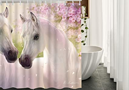 Horse Shower Curtain Decor By HGOD DESIGNS White Horses In Spring Set With