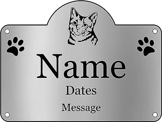 OriginDesigned - Placa conmemorativa personalizada para mascotas, diseño de gato para mascotas: Amazon.es: Productos para mascotas