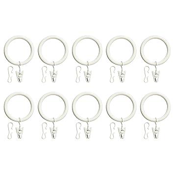 Ikea Teil Vorhang Ring Mit Clip Und Haken Weiß Gebeizt 10 Pack