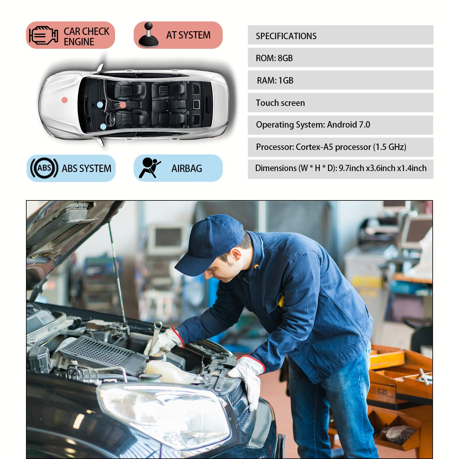 LAUNCH OBD2 Scanner Automotive OBD Code Reader Check Engine ABS SRS Transmission Diagnostic Scan Tool (CRP423) by LAUNCH (Image #4)
