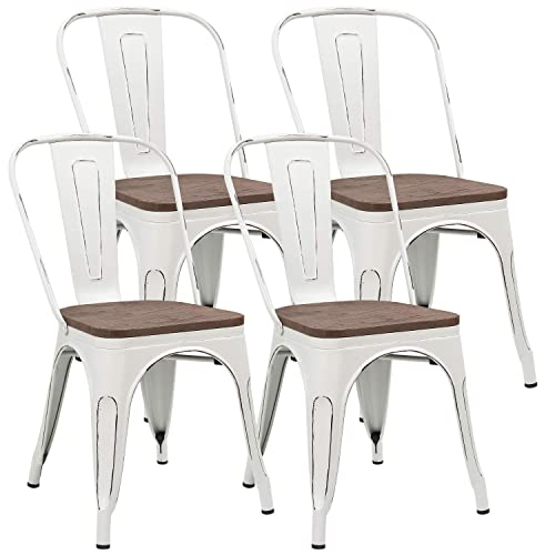 JUMMICO Metal Dining Chair Stackable Industrial Vintage Kitchen Chairs Indoor-Outdoor Bistro Cafe Side Chairs with Back and Wooden Seat Set of 4 White