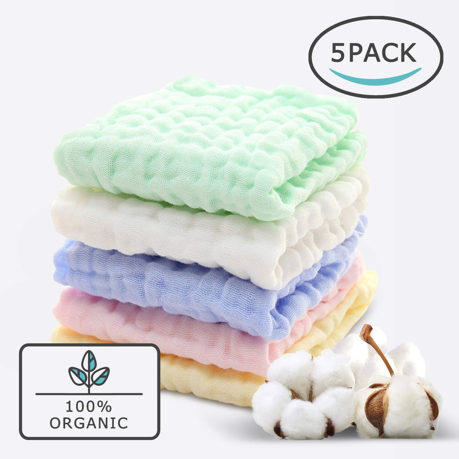 Baby Muslin Organic Washcloths(12x12 Inches,5 Colors)-100% Natural Cotton Baby Wipes-Super Soft Face Towel for Sensitive Skin-Baby Register Shower Gift! LINGQUEEN