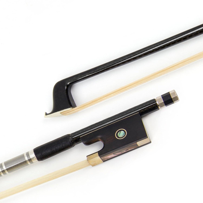 Kmise de violon en fibre de carbone 4/4Noir nœuds pour Fiddle bâton rond avec crin de cheval de Mongolie en ébène d'enroulement de fil d'argent pour les débutants et les joueurs avancés 4/4 brillant Ltd