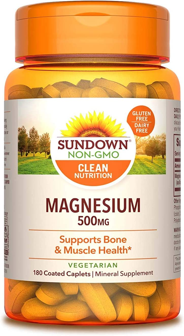 Magnesium, 500 mg (180 Coated Caplets) Mineral Supplement, Meets Daily Recommended Intake (Packaging May Vary) - 2 Pack