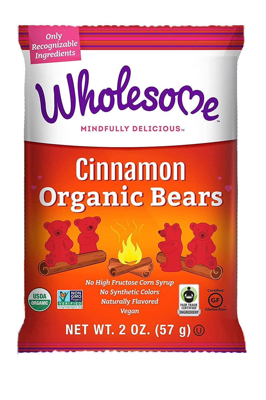 Wholesome Fair Trade Organic Cinnamon Bears, No Artificial Colors or High Fructose Corn Syrup, Non GMO & Gluten Free, Vegan, 2 Ounce (Pack of 6)