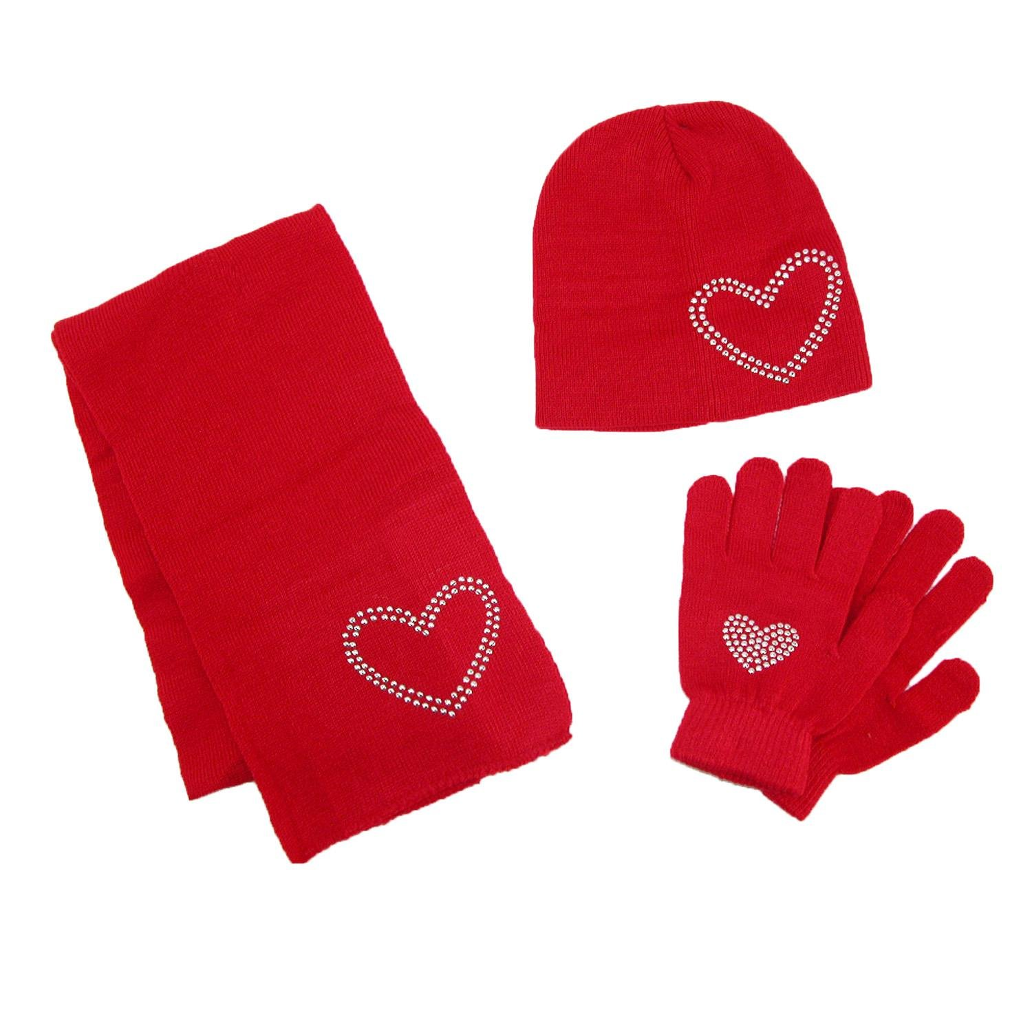 CTM Girls' Stud Accent Hat Glove and Scarf Winter Set, Red GM-KG116-RED