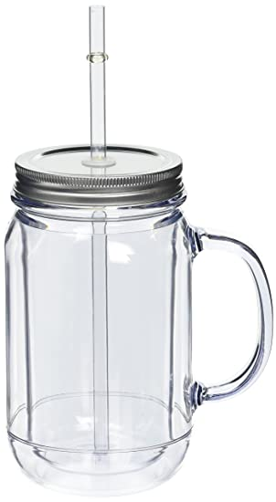 pack of 4 double wall plastic mason drinking jar glasses 16oz 470ml san plastic - Mason Jar Glasses