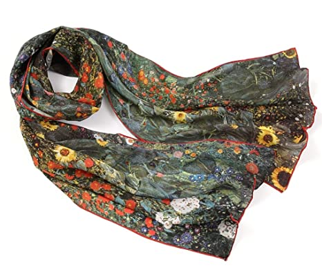 e3c7d4fcddb Prettystern Women long Silk Scarf Gustav Klimt Art Printing for Business  Evening - Farm Garden with